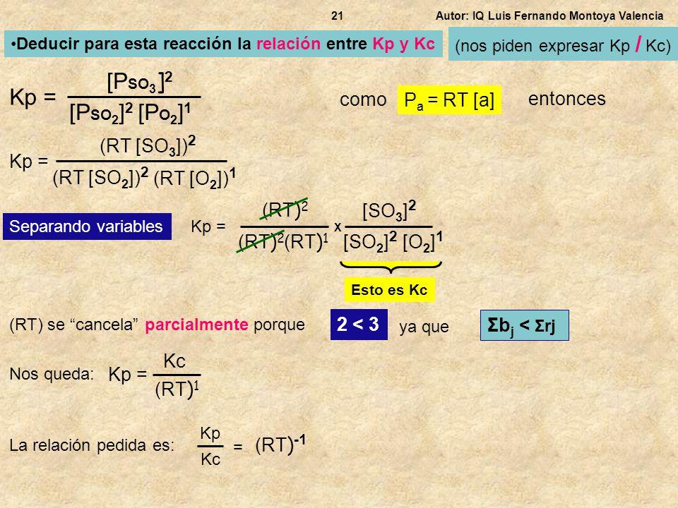[PSO3]2 Kp = [PSO2]2 [PO2]1 como Pa = RT [a] entonces (RT [SO3])2 Kp =